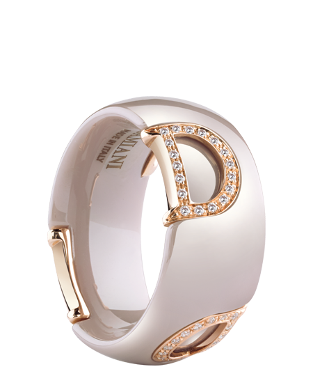 Cappuccino ceramic, pink gold and diamonds ring
