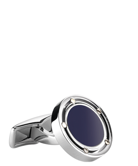 Cufflinks in gold, steel and lapis