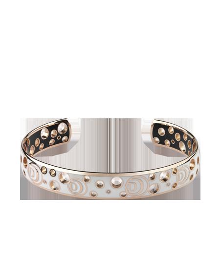 Bracelet in pink gold, diamonds, black and white ceramic