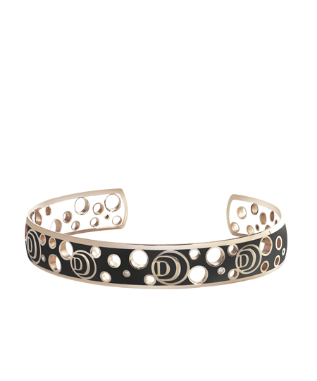 Bracelet in pink gold, diamonds, white and black ceramic