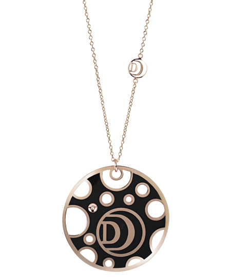 Pink gold double-face necklace, with diamond and black and white ceramic