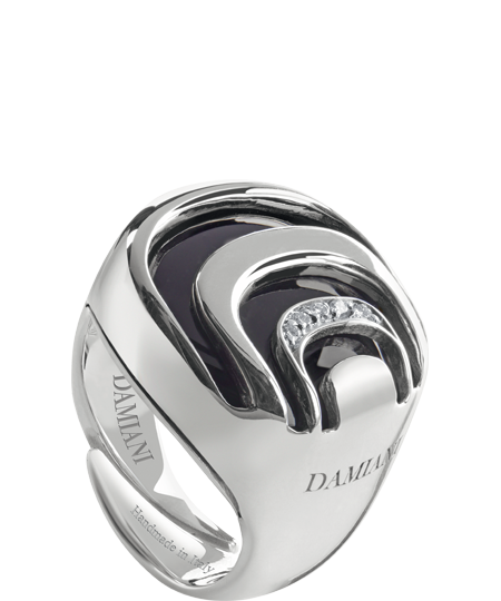 silver, diamond and onyx ring