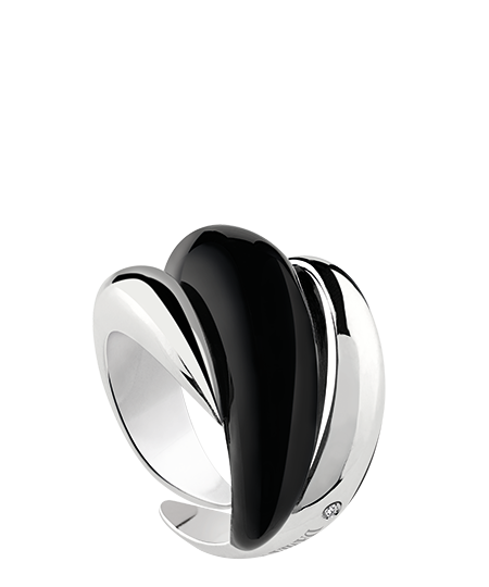 Ring in silver with diamond and black enamel inserts