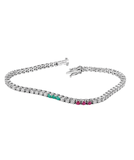 White gold, diamond, emerald and ruby bracelet