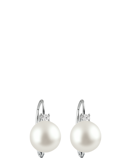 white gold, diamond and pearl earrings