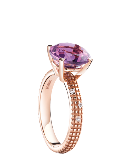 Pink gold, diamonds and amethyst ring