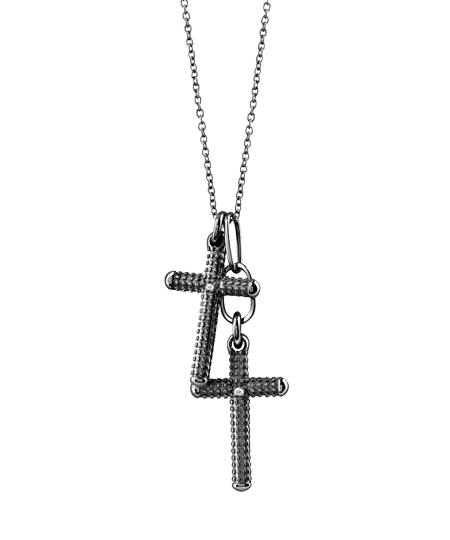 black gold and diamond cross necklace