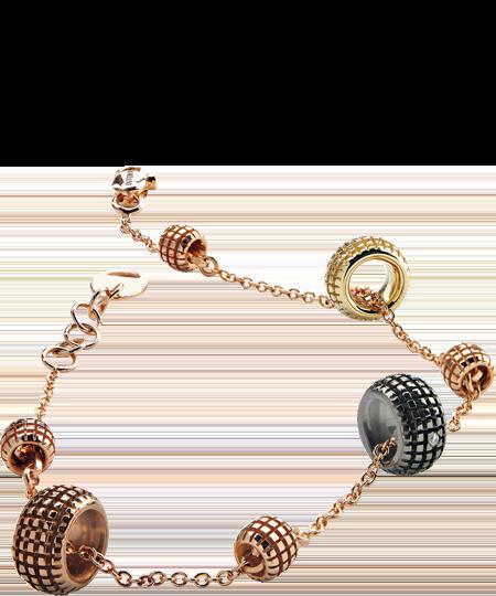 yellow, pink, brown, black gold and diamond bracelet