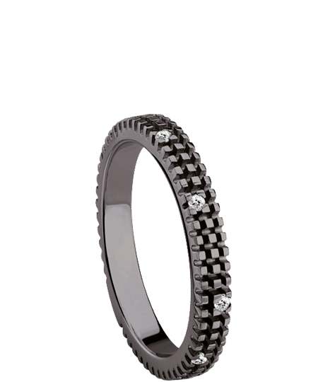 Black gold and diamond ring