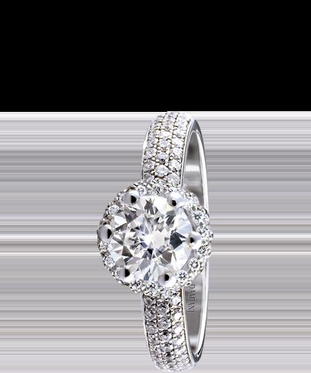 Minou Full Pavé – white gold solitaire ring