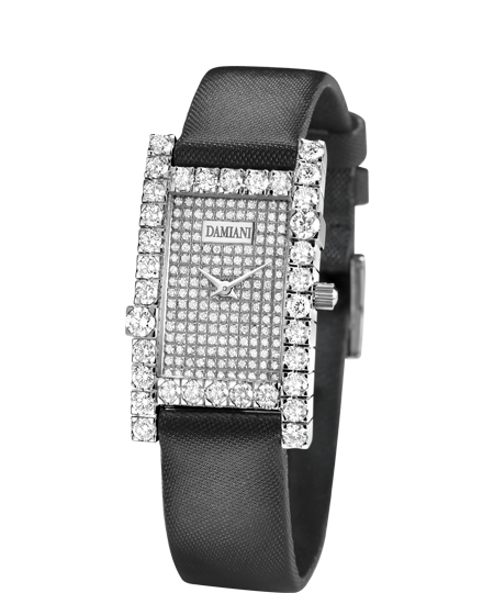 Diamond satin strap watch