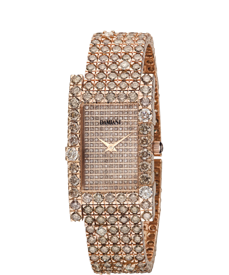Brown diamond full pave' watch