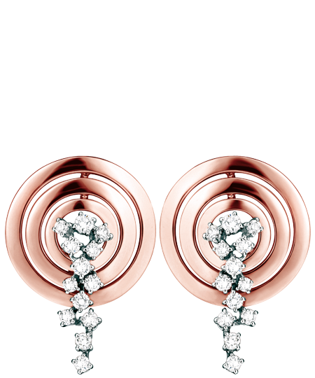 white, pink gold and diamond earrings