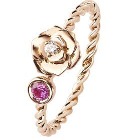 Rose gold diamond pink sapphire ring