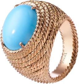 Ring in rose gold and turquoise
