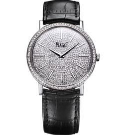 Ultra-thin watch mechanical white gold diamonds 38 mm