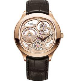 tourbillon watch skeleton automatic rose gold 46.5 mm