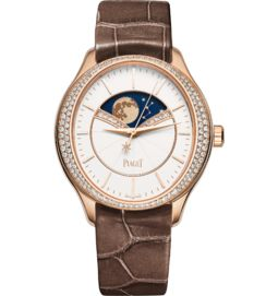 Moon phase watch automatic rose gold diamonds 36 mm