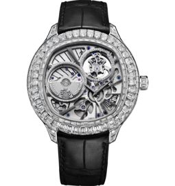 Tourbillon watch ultra-thin automatic white gold diamonds 49 mm