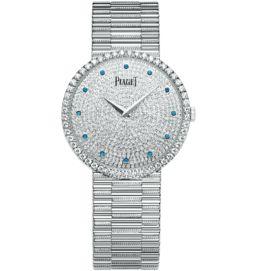 Ultra-thin watch white gold diamonds sapphires 34 mm