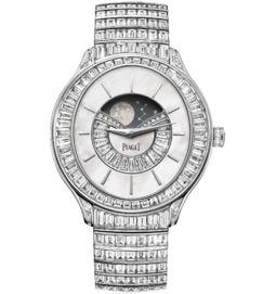 Moon phase watch automatic white gold diamonds 39 mm