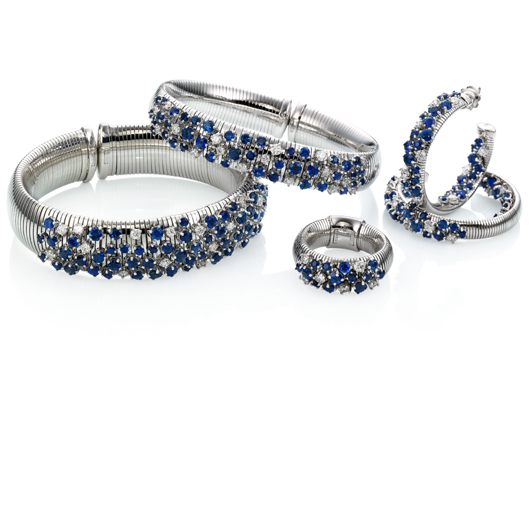 White gold bracelet with diamonds and sapphires  & other