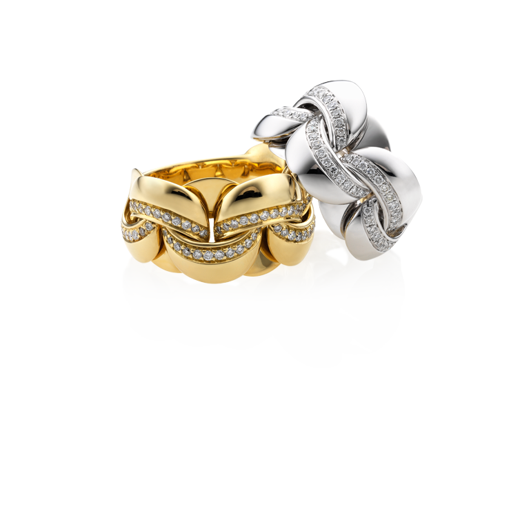 Yellow gold ring with diamonds  & other