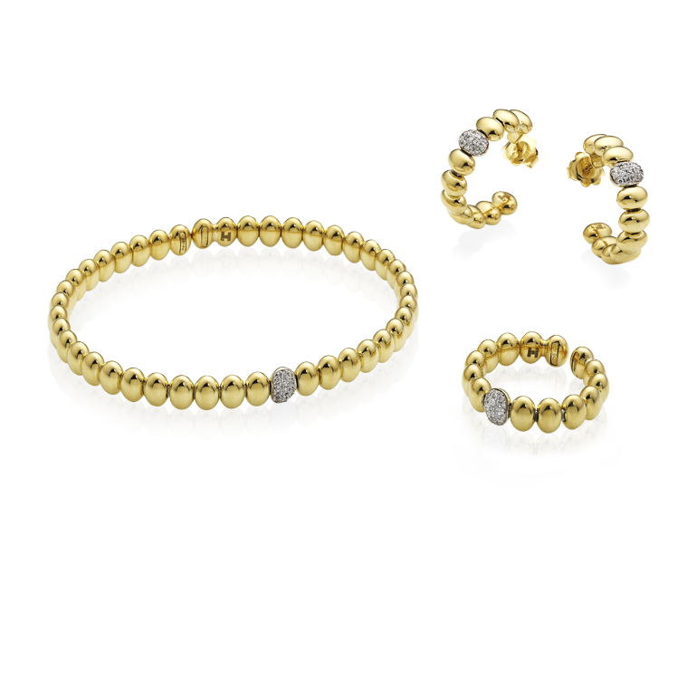 Bracelets in yellow gold with diamonds  & other