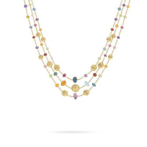 Africa Gemstone Triple Strand Statement Necklace