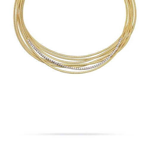 Cairo Gold and Diamond Seven Strand Woven Necklace