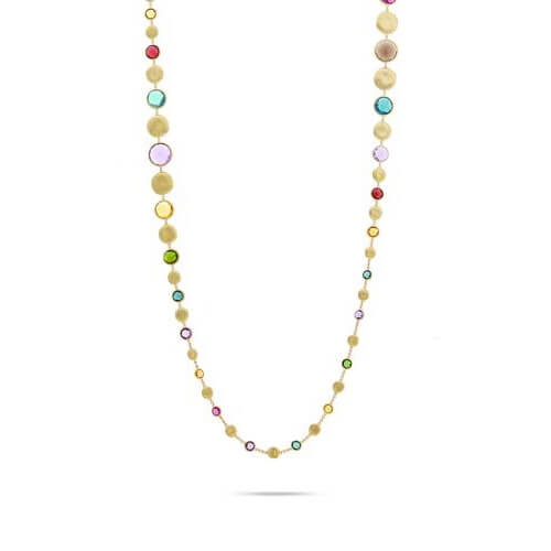 Jaipur Bold Mixed Gemstone Grauated Long Necklace