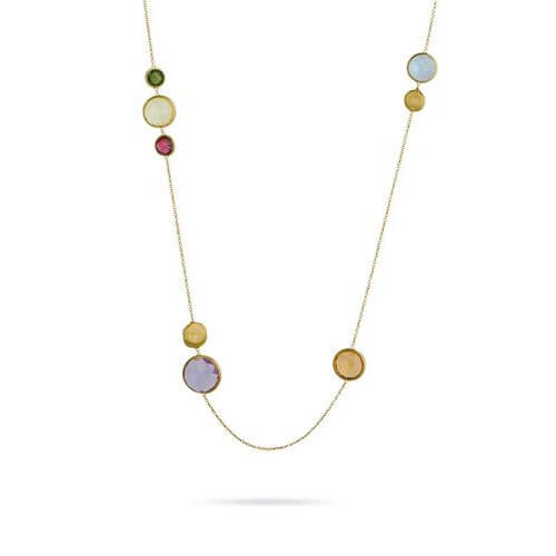 Jaipur Mixed Bead Gold &  Multicolored Stone Necklace