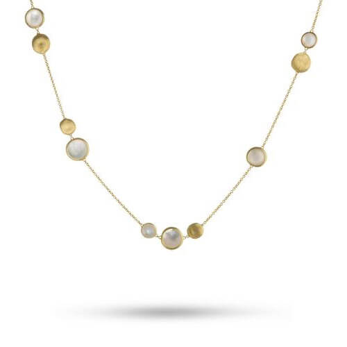 Jaipur Mixed Bead Gold & Mother Of Pearl Necklace