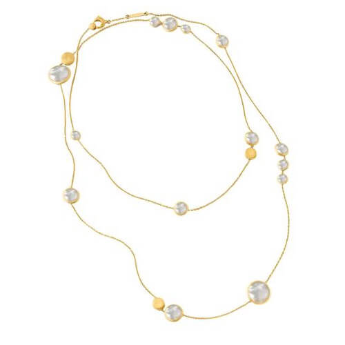 Jaipur Mixed Bead Gold & White Mother of Pearl Long Necklace