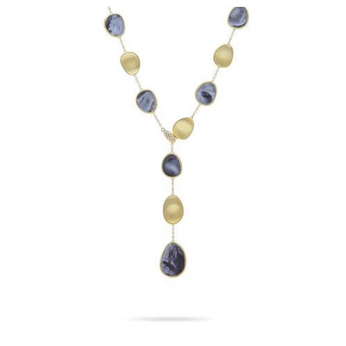 Lunaria Black Mother of Pearl with Diamond Pave Clasp Small Lariat