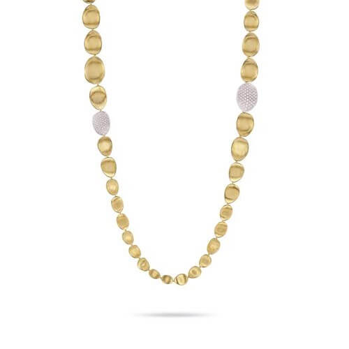 lunaria gold & diamond pave double wave necklace