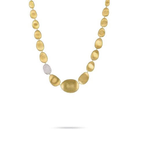 Lunaria Gold & Diamond Pave Small Single Station Necklace