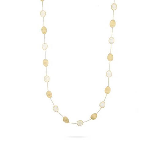 Lunaria White Mother of Pearl & Gold long Necklace