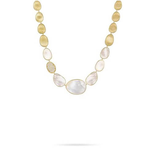 Lunaria White Mother of Pearl with Diamond Pave Collar