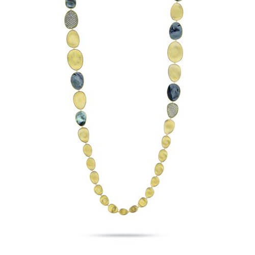 Lunaria Yellow Gold & Diamond with Black Mother of Pearl Necklace