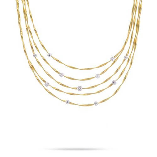 Marrakech Couture Gold & Diamond Five Strand Necklace