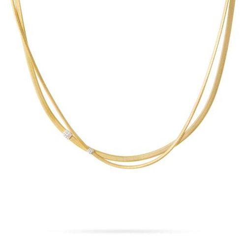 Masai Two Strand Diamond Necklace in Yellow Gold