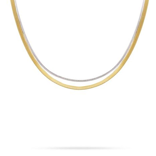 Masai Two Strand Necklace In Yellow & White Gold
