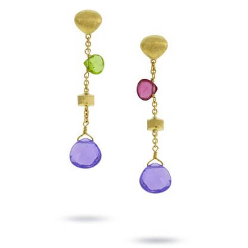 Paradise Mixed Stone & Gold Tear Drop Short Drop Earrings with Amethyst