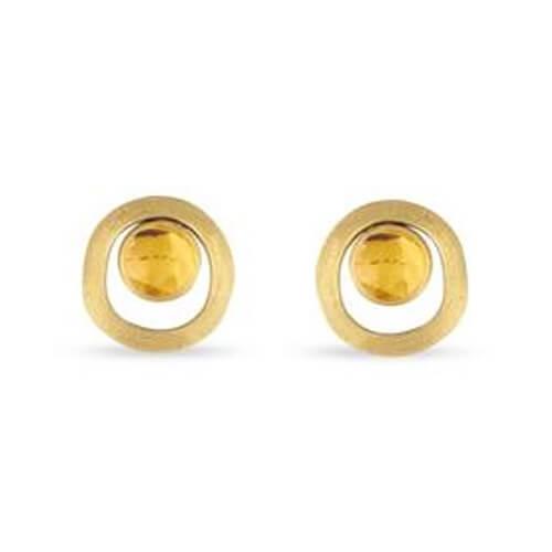 jaipur citrine gold link stud earrings