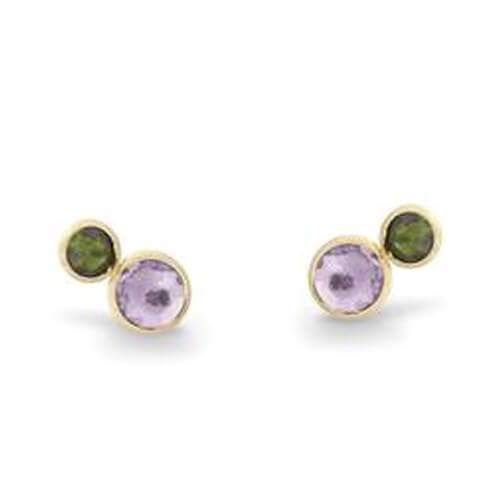Jaipur Two Stone Stud with Amethyst and Green Tourmaline