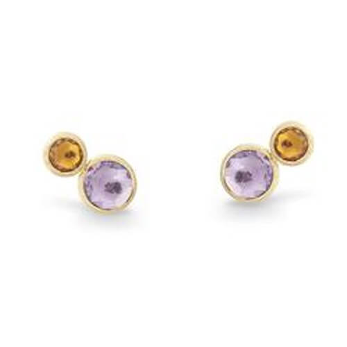 Jaipur Two Stone Stud with Amethyst and Yellow Citrine