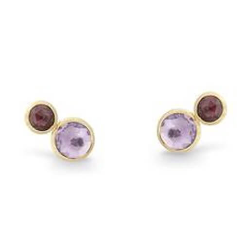Jaipur Two Stone Stud with Amethyst and Rose Tourmaline
