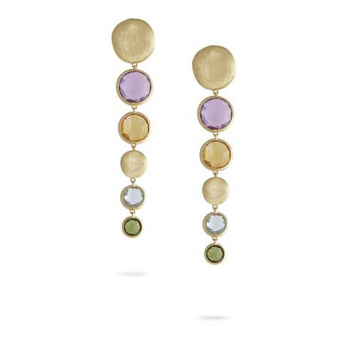 Jaipur Mixed Stone Graduated Drop Earrings with Green Tourmaline