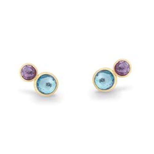 Jaipur Two Stone Stud with Topaz and Amethyst